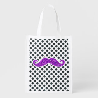 SAC RÉUTILISABLE POIS POURPRE DE MOUSTACHE DE PARTIES SCINTILLANTES