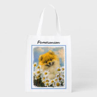 Sac Réutilisable Pomeranian dans les marguerites