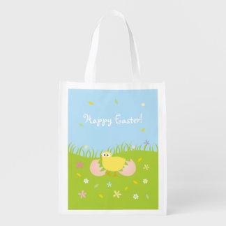 Sac Réutilisable Poussin mignon heureux de bébé de Pâques