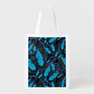 Sac Réutilisable Remous bleus de papillon de Morpho