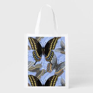 Sac Réutilisable Remous noirs de papillon de machaon