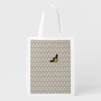 Sac Réutilisable Rétro motif de grille coloré de nid d'abeilles
