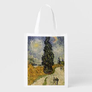 Sac Réutilisable Route de Vincent van Gogh | avec des cyprès, 1890