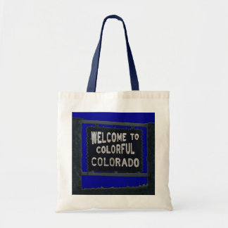 Colorful Colorado rustic welcome sign reusable bag