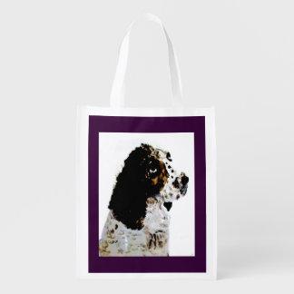 Sac Réutilisable Springer spaniel noir et blanc d'art de chien