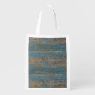 Sac Réutilisable Texture bleue en bois de plage