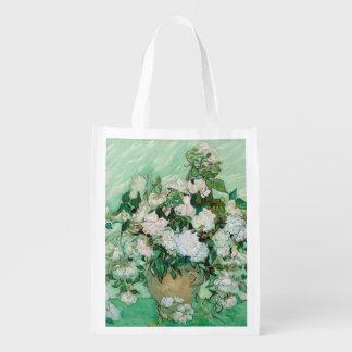 Sac Réutilisable Vase à Van Gogh avec l'art floral vintage de roses