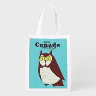 Sac Réutilisable Visitez l'affiche de hibou du Canada