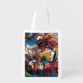Sac Réutilisable Wassily Kandinsky - art abstrait de paysage urbain