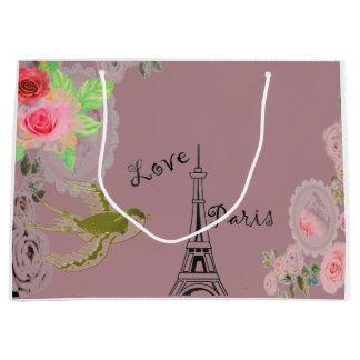 Sac rose de cadeau de roses de Tour Eiffel