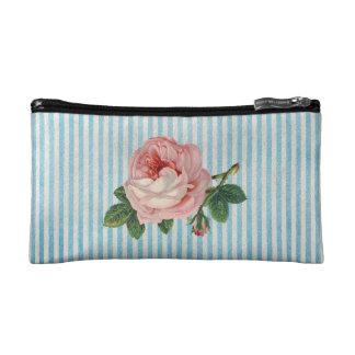 Sac vintage de cosmétique de rose de rose trousse de toilette