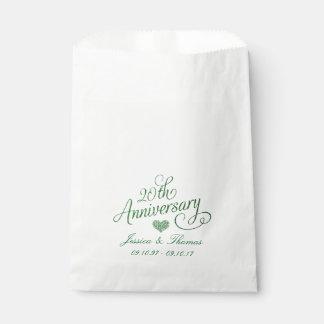 Sachets En Papier 20ème Sac vert de faveur d'anniversaire de mariage