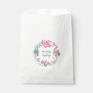 Sachets En Papier aquarelle florale rose de fleurs et de succulents