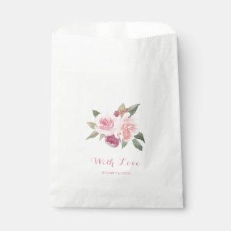 Sachets En Papier Aquarelle rustique florale avec le mariage d'amour