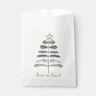 Sachets En Papier arbre rustique vintage moderne de plume d'hiver