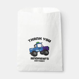 Sachets En Papier Camion de monstre bleu d'anniversaire de camion