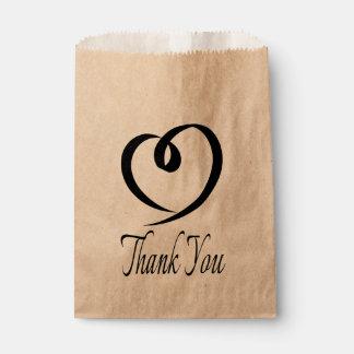 Sachets En Papier Épouser noir de Merci de coeur/partie