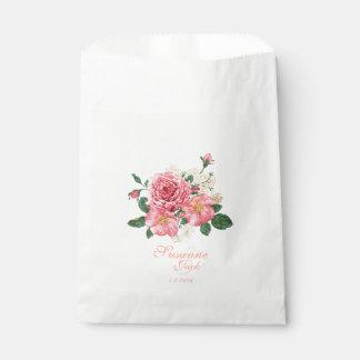 Sachets En Papier Épouser rose de roses d'aquarelle