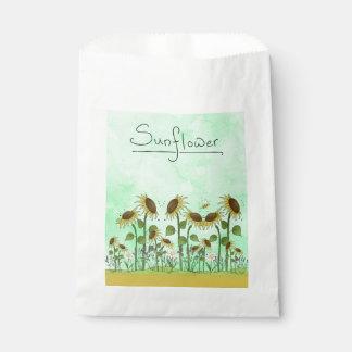 Sachets En Papier Illustration de tournesol d'été d'or sur le vert