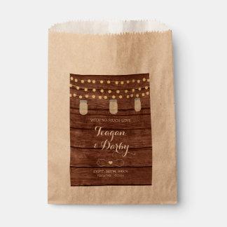 Sachets En Papier La ficelle allume le sac en bois de faveur de
