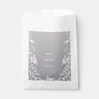 Sachets En Papier Mariage argenté floral de Chinoiserie d'aquarelle