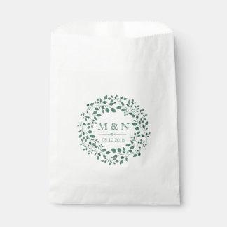 Sachets En Papier Mariage de monogramme de la guirlande |