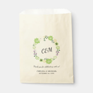 Sachets En Papier Mariage floral vert vintage de guirlande de