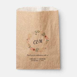 Sachets En Papier Mariage floral vintage de guirlande de monogramme