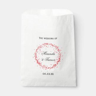 Sachets En Papier Mariage rouge de confettis - sac de faveur