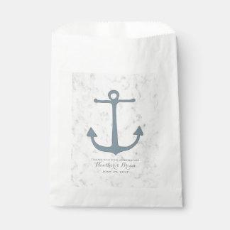 Sachets En Papier Mariage rustique bleu d'ancre