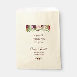 Sachets En Papier MERCI floral de mariage de Bourgogne Marsala de