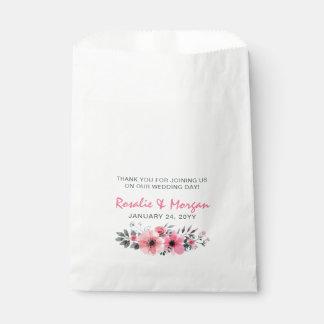 Sachets En Papier Merci floral en bois rustique de mariage