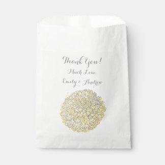 Sachets En Papier Merci jaune floral rustique de chrysanthème