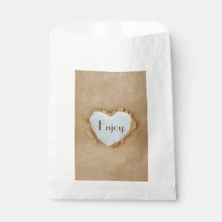 Sachets En Papier Noce rustique de coeur de sac de papier de Brown