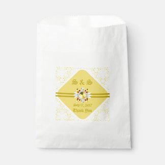 Sachets En Papier Sac jaune de faveur de mariage avec des polices