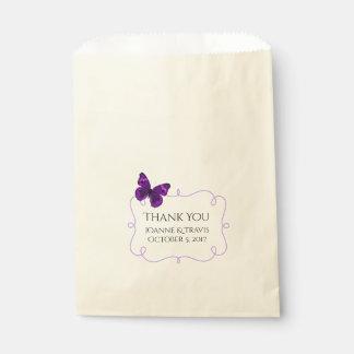 Sachets En Papier Sac pourpre de faveur de mariage de papillon