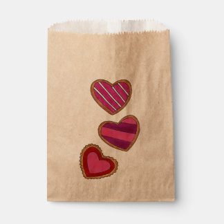 Sachets En Papier Saint-Valentin rouge-rose d'amour de biscuits de