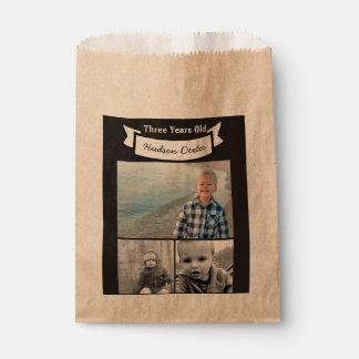 Sachets En Papier Votre bannière rustique de collage de photo trois