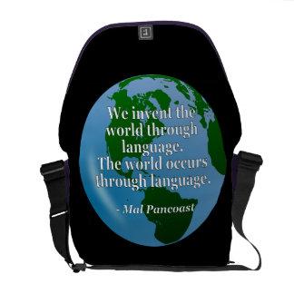 Sacoche Inventez la citation de langue du monde. Globe