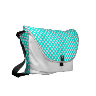 Sacoche Pois blanc de turquoise - sac messenger