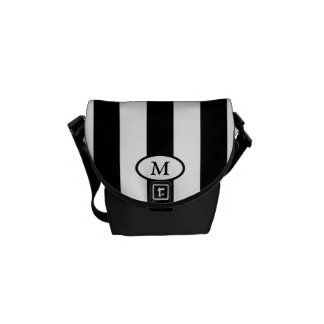 Sacoche Rayures noires et blanches - sac messenger à