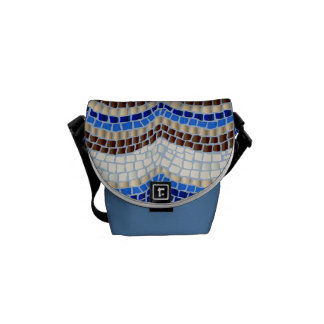 Sacoches Mini sac messenger à mosaïque bleue