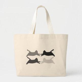 Sacs fourre-tout gris noirs à chats de silhouette