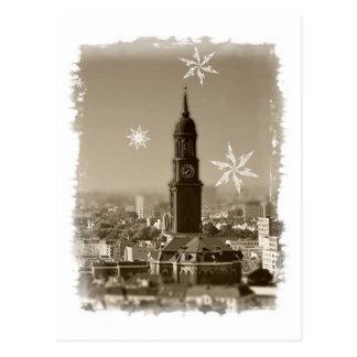 Saint michaelis église, Hambourg, weihnachtskarte Carte Postale