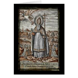 Saint Patrick avec des serpents à ses pieds Carte De Vœux