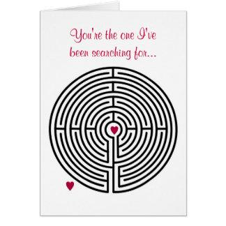 Saint-Valentin d'amour de labyrinthe Carte De Vœux