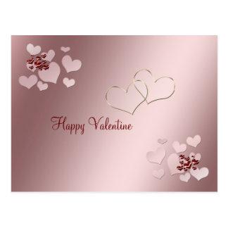 Saint-Valentin de deux coeurs Carte Postale