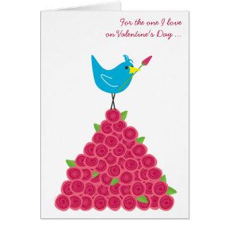 Saint-Valentin l'un oiseau bleu et roses d'amour Carte De Vœux