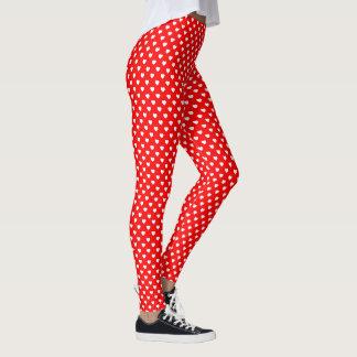 Saint-Valentin rouge et blanche de point de polka Leggings