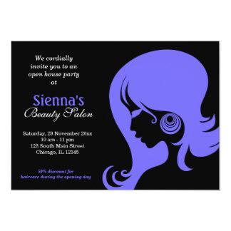 Salon de beauté (bleu léger d'ardoise) carton d'invitation  12,7 cm x 17,78 cm